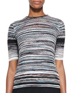 Missoni Short-Sleeve Pleated Back Sweater, Multicolor