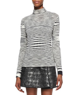 Missoni Space Dye Striped Turtleneck Top, Black/White