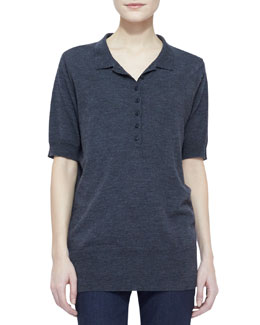 Burberry Brit Merino-Wool Short-Sleeve Collared Shirt