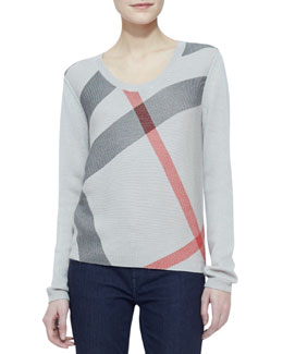 Burberry Brit Classic Check-Knit Long-Sleeve Sweater