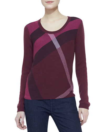Burberry Brit Check-Knit Long-Sleeve Sweater, Maroon