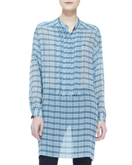 Burberry Brit Long-Sleeve Plaid Silk Chiffon Blouse, Sky Blue