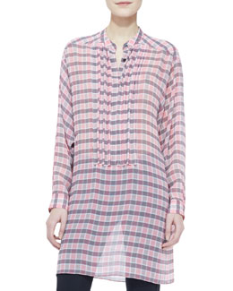 Burberry Brit Chiffon Plaid Long-Sleeve Blouse