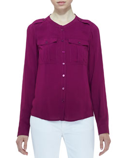 Burberry Brit Voile Two-Pocket Blouse, Deep Fuchsia