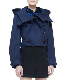 Burberry Brit Twill Hooded Cropped Jacket