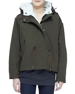 Burberry Brit Military Jacket with Shearling Fur Trim, Olive
