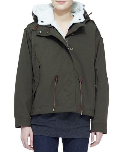 Military Jacket with Shearling Fur Trim, Olive