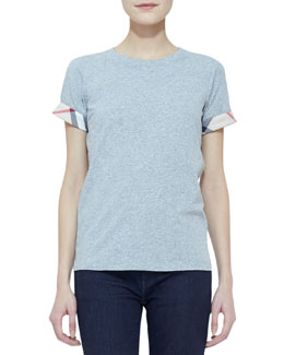 Burberry Brit Knit Short-Sleeve Check-Cuff Top