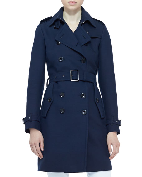 Burberry Brit Double-Breasted Trench Coat, Navy