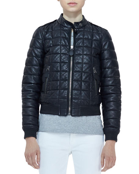 Quilted-Lambskin Long-Sleeve Bomber Jacket
