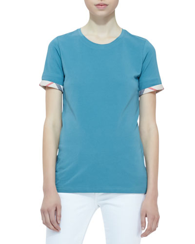 Burberry Brit Short-Sleeve Check-Cuff Tee, Opal Green