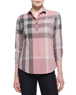Burberry Brit Poplin Check Button-Up Top, Pale Rose Pink