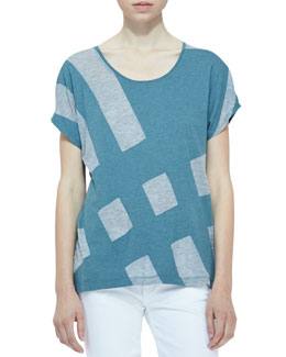Burberry Brit Knit Colorblock Short-Sleeve Top
