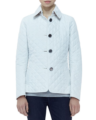 Burberry Brit Long-Sleeve Quilted Jacket, Chalk