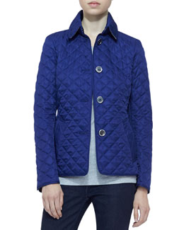 Burberry Brit Long-Sleeve Quilted Jacket, Sapphire