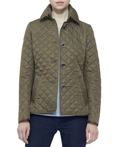 Burberry Brit Long-Sleeve Quilted Jacket, Military Khaki