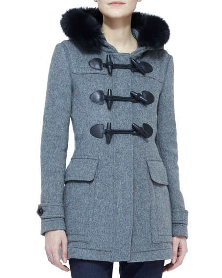 Fox Fur-Trim Wool Toggle Coat with Hood, Mid Melange Gray