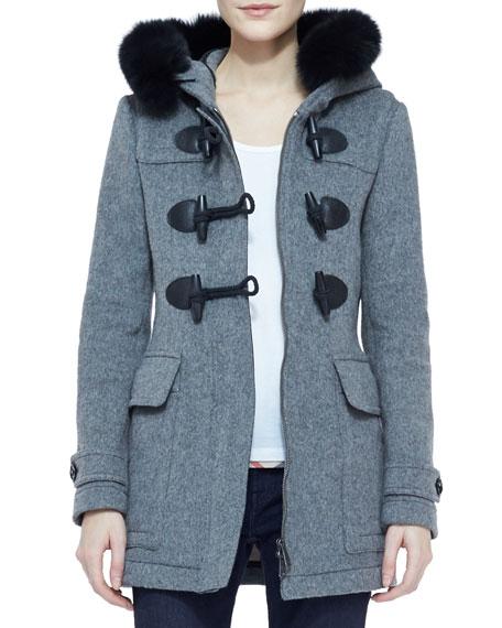 Fox Fur-Trim Wool Toggle Coat with Hood, Mid Melange Gray