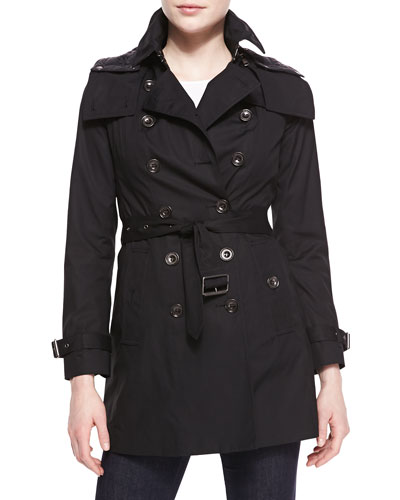 Burberry Brit Double-Breasted Hooded Tench Coat