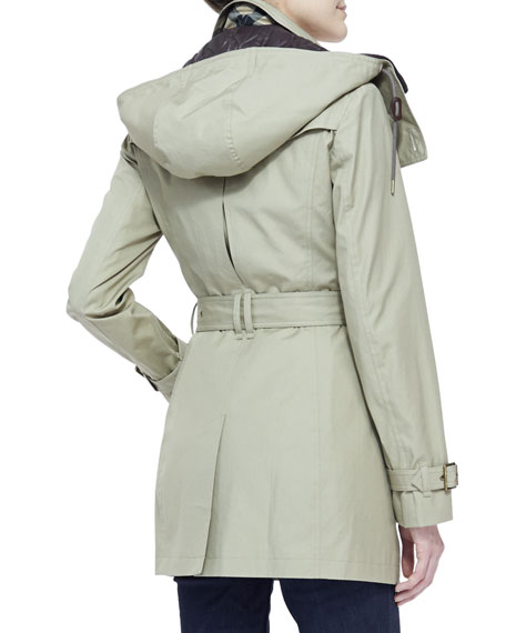 Mid Taupe Warmer Length Coat With Trench Brit Hooded Removable Burberry 6qOxBS5