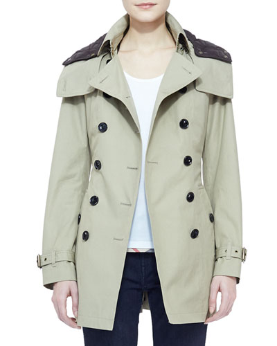 Burberry Brit Mid-Length Hooded Trench Coat with Removable Warmer, Taupe