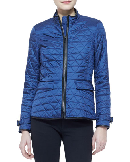 Long-Sleeve Quilted Zip Jacket, Steel Blue