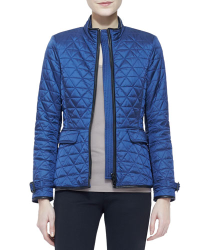 Burberry Brit Long-Sleeve Quilted Zip Jacket, Steel Blue