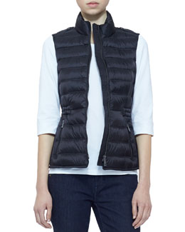 Burberry Brit Zip Puffer Vest, Black