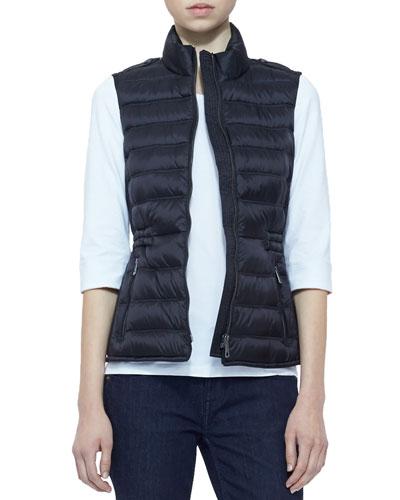Burberry Brit Zip Puffer Vest, Black