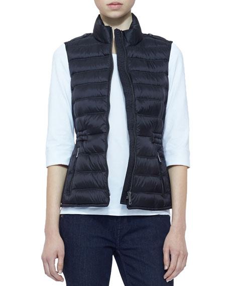 Zip Puffer Vest, Black