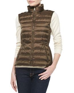 Burberry Brit Zip Puffer Vest, Khaki Green