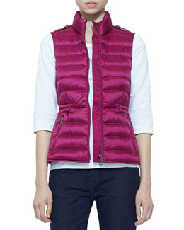 Burberry Brit Zip Puffer Vest, Bright Magenta