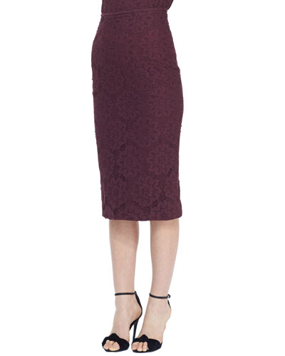 Burberry London Midi Lace Pencil Skirt
