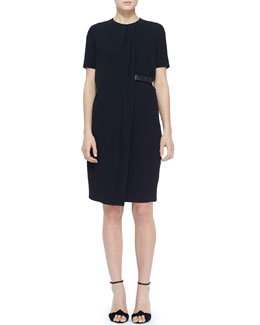 Burberry London Short-Sleeve Side-Belt Shift Dress