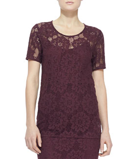 Burberry London Short-Sleeve Lace Top