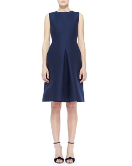 Burberry London Sleeveless Cotton-Silk Front-Pleat Dress