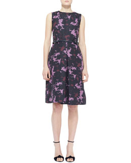 Burberry London Sleeveless Printed Front-Pleat Dress