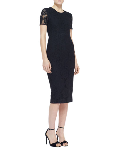 Burberry London Short-Sleeve Lace Sheath Dress