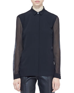 Burberry London Sheer-Panel Buttoned Blouse, Black