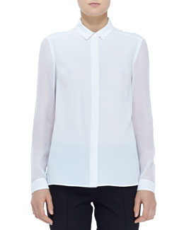 Burberry London Sheer-Panel Buttoned Blouse, White