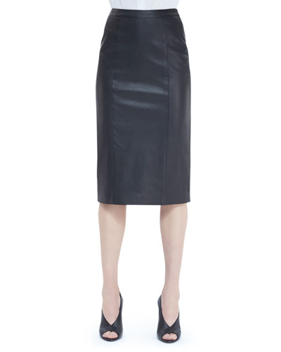 Burberry London Seamed Leather Pencil Skirt