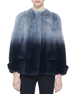 Burberry London Hand-Dipped Short Mink Fur Coat