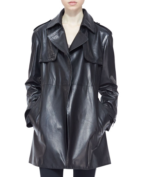Leather Wrap Trench Coat