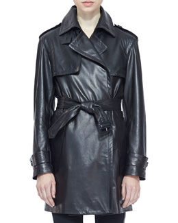 Burberry London Leather Wrap Trench Coat