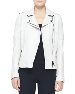 Burberry London Leather Moto Jacket, Stone