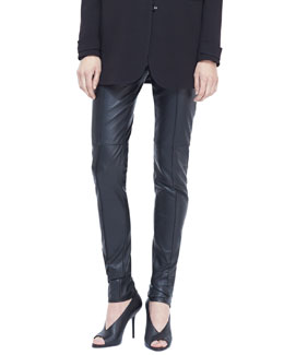 Burberry London Paneled Leather Leggings