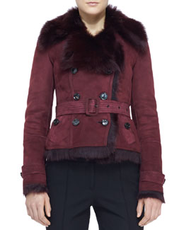 Burberry London Belted Shearling-Lined Jacket