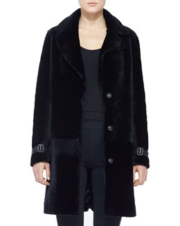 Burberry London Long Shearling Snap Coat