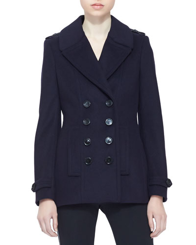 Burberry London Short Pleat-Back Peacoat