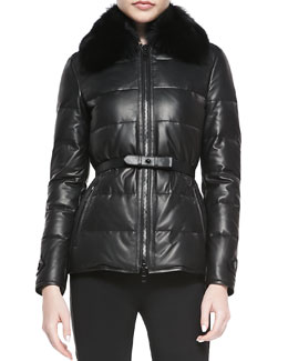 Burberry London Leather Fur-Collar Puffer Jacket
